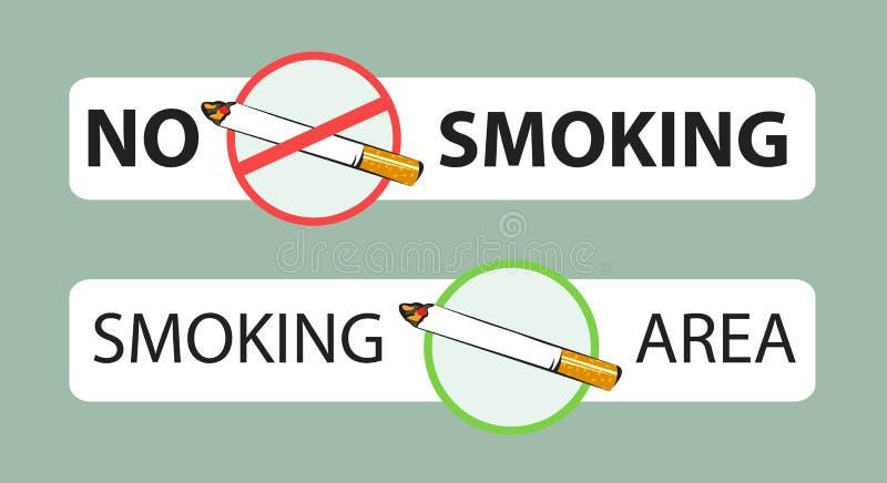 Não fumadores e sinais da área de fumo Graphhics do vetor Disposição da etiqueta ilustração stock