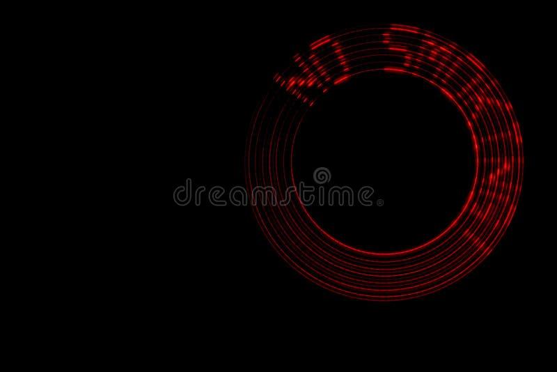 Não fumadores Inscrição vermelha do diodo emissor de luz com efeito abstrato do movimento circular em um fundo preto no lado dire imagens de stock royalty free