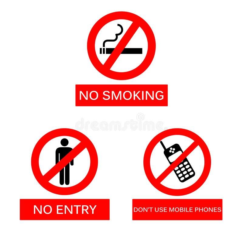 Não fumadores, nenhuma entrada e não use telefones celulares assinam no iso ilustração do vetor