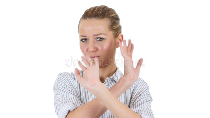 Não gostar, negando a mulher de negócios, fundo branco fotografia de stock