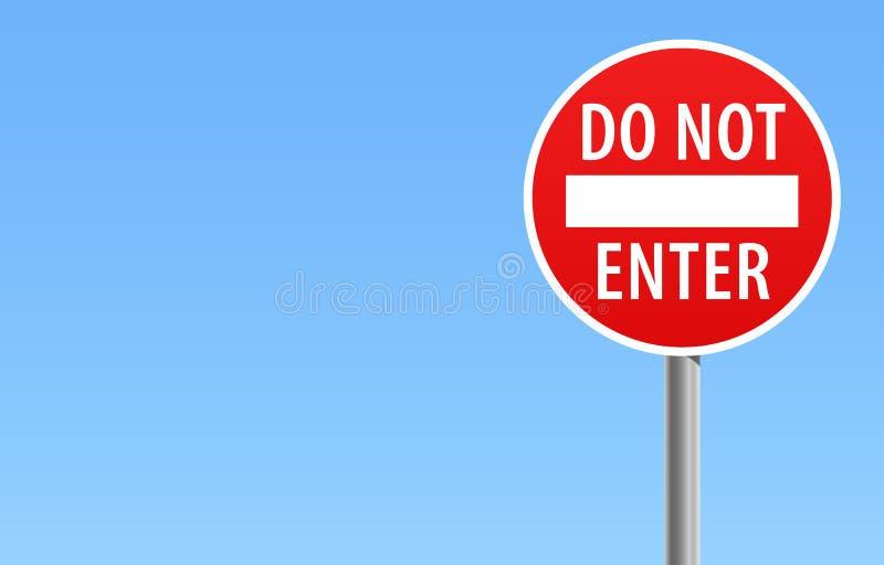 Não incorpore a ilustração do vetor do céu azul de sinal de estrada ilustração do vetor