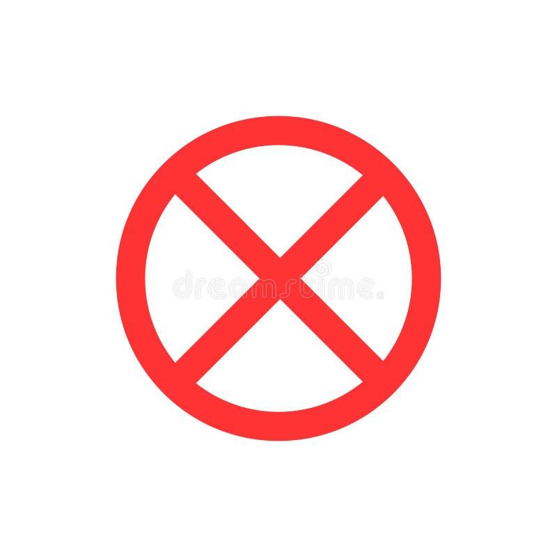 Não, nenhuma entrada, nenhum sinal, ícone do sinal Ilustração lisa do vetor CÍRCULO VERMELHO ilustração royalty free