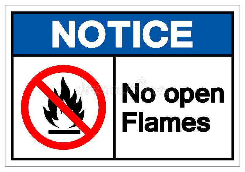 Não observe nenhum sinal do símbolo das chamas abertas, ilustração do vetor, isolado na etiqueta branca do fundo EPS10 ilustração royalty free
