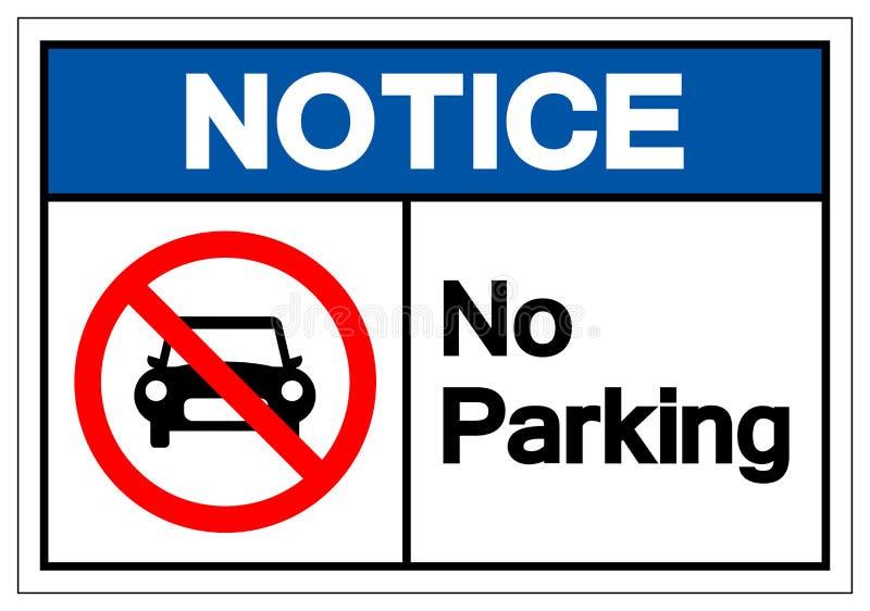 Não observe nenhum sinal do símbolo do estacionamento, ilustração do vetor, isolada na etiqueta branca do fundo EPS10 ilustração stock