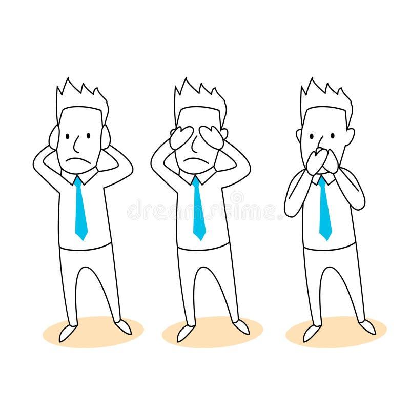 Não ouça, veja, fale nenhum desenho animado mau ilustração royalty free