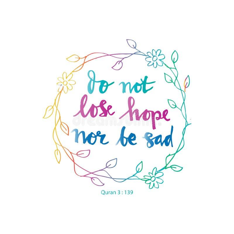 Não perca a esperança nem seja triste ilustração royalty free
