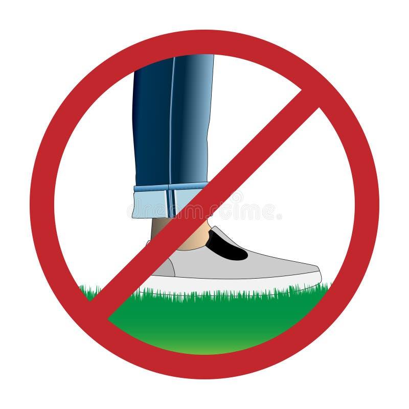 Não pise no sinal da grama ilustração royalty free