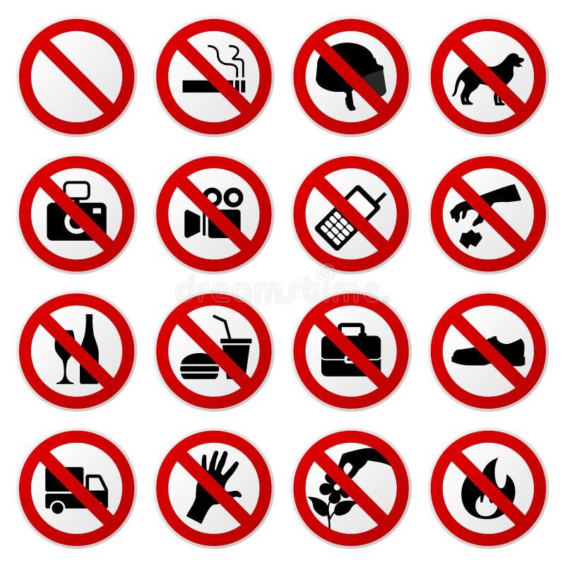 Não proibiu nenhum sinal do batente ilustração royalty free