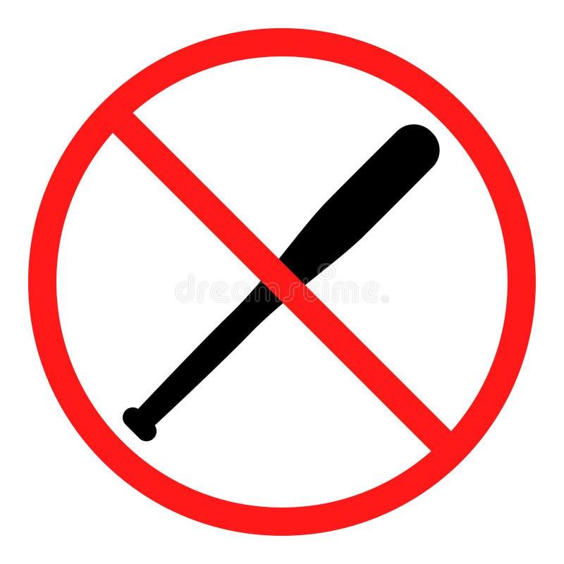 Não refrigere nenhum sinal do bastão de beisebol ilustração royalty free