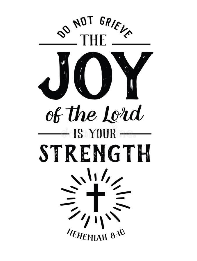 Não se aflija a alegria do senhor é sua força ilustração do vetor