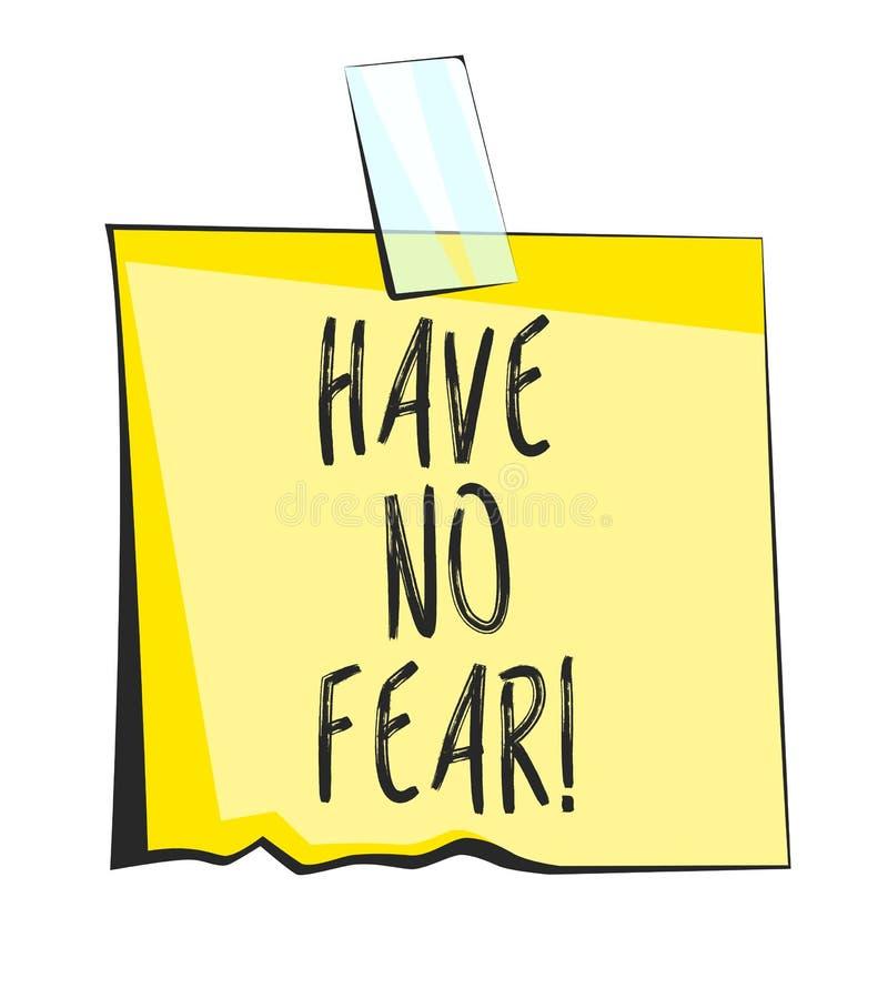 Não tenha nenhuma nota pegajosa do papel do medo Etiqueta retro do lembrete ilustração stock