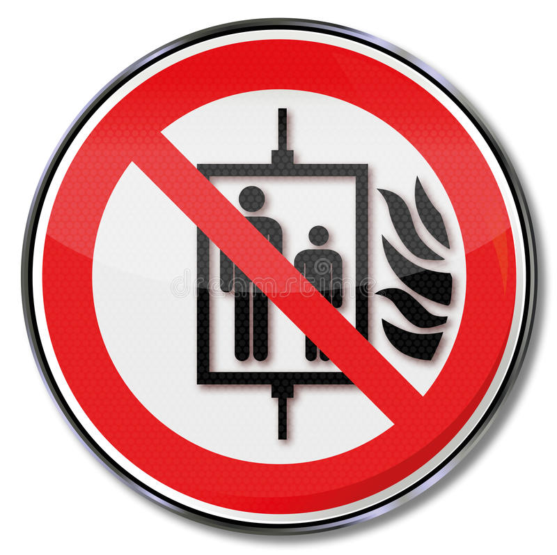 Não use o elevador em caso do fogo ilustração do vetor