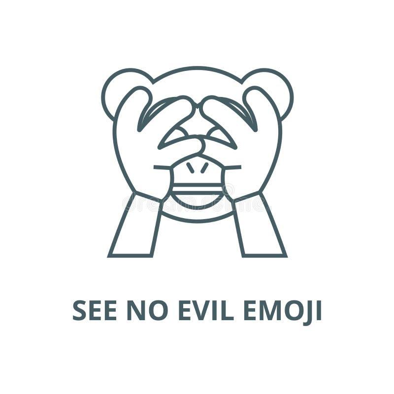 Não veja nenhuma linha má ícone do vetor do emoji, conceito linear, sinal do esboço, símbolo ilustração stock