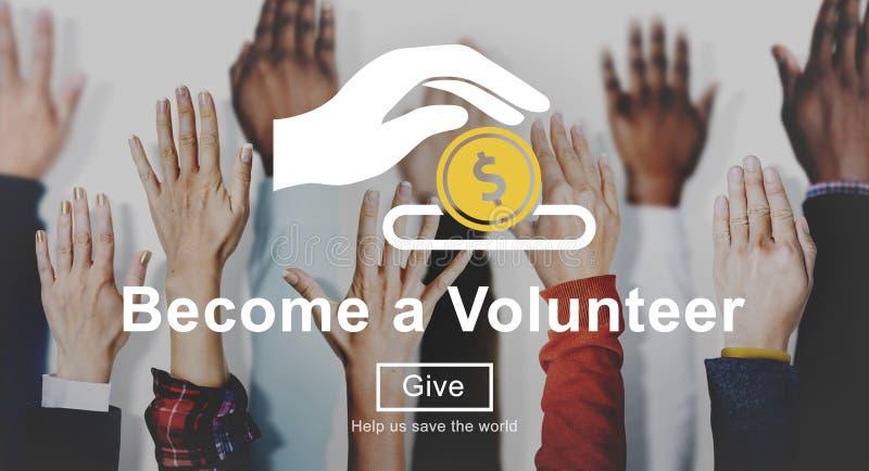 Nächstenliebe-Freiwillig-Hilfshilfe spenden Konzept lizenzfreies stockbild