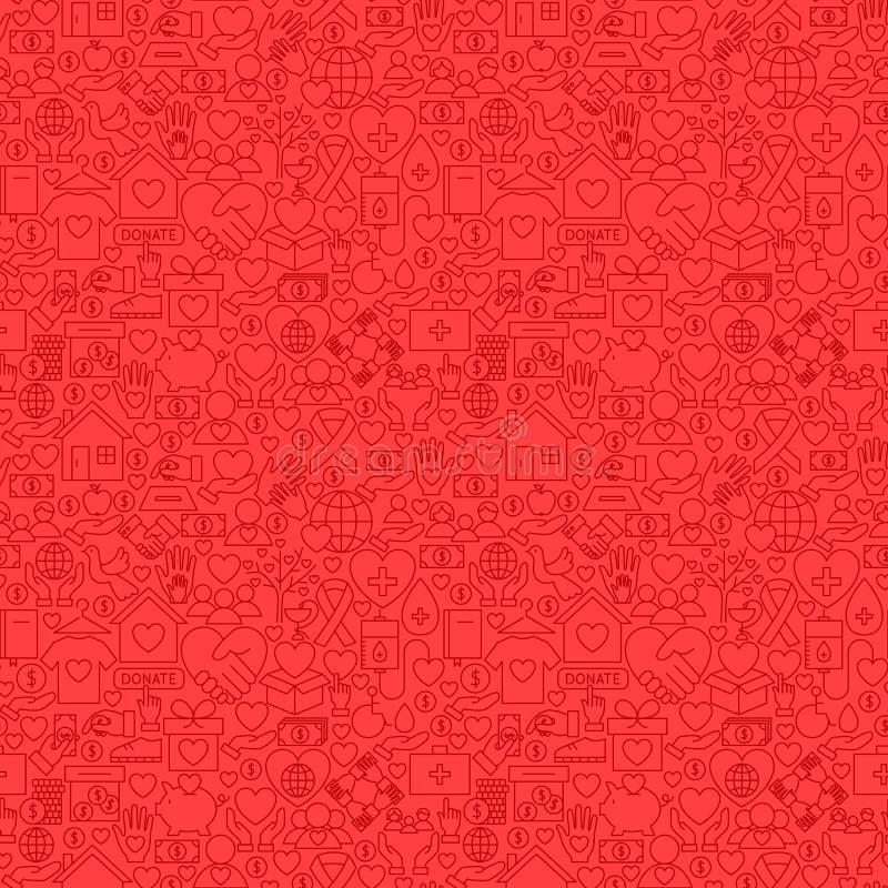 Nächstenliebe-rote Linie nahtloses Muster lizenzfreie abbildung