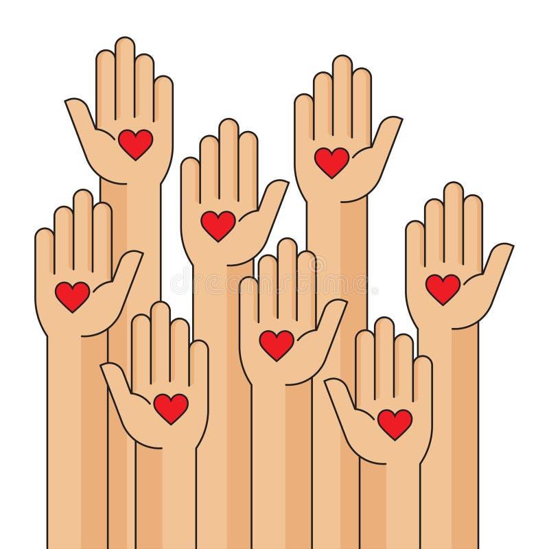 Nächstenliebeereignis, Hände hob, Herz in der Palme Ihrer Hand an lizenzfreie abbildung