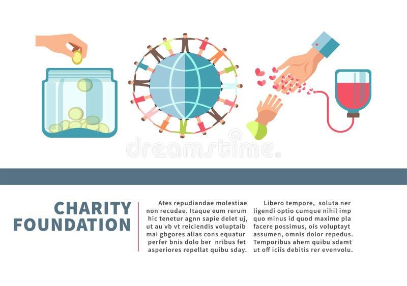 Nächstenliebegrundlagenplakat für Blut und Geldspende finanzieren flaches Design des Vektors vektor abbildung