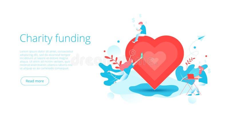 Nächstenliebekapital oder -sorgfalt im flachen Vektorkonzept Freiwillige Gemeinschafts- oder Spendenmetapherillustration Netzfah lizenzfreie abbildung