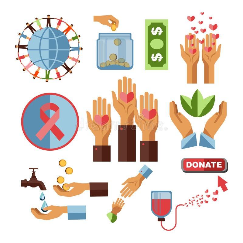 Nächstenliebekapital und Streifen der Blutspendenwirtschaftlichen hilfe und -krebses vektor abbildung