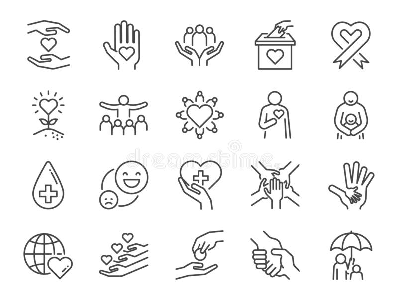 Nächstenliebelinie Ikonensatz Eingeschlossene Ikonen als Art, Sorgfalt, Hilfe, Anteil, gutes, Unterstützung und mehr vektor abbildung