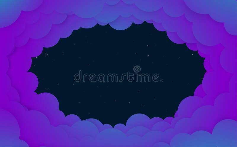 Nächtlicher Himmel mit glänzenden Sternen und Wolken vektor abbildung