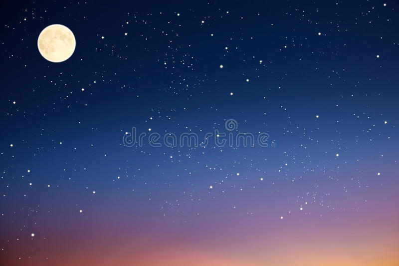 Nächtlicher Himmel mit Mond und Sternen.
