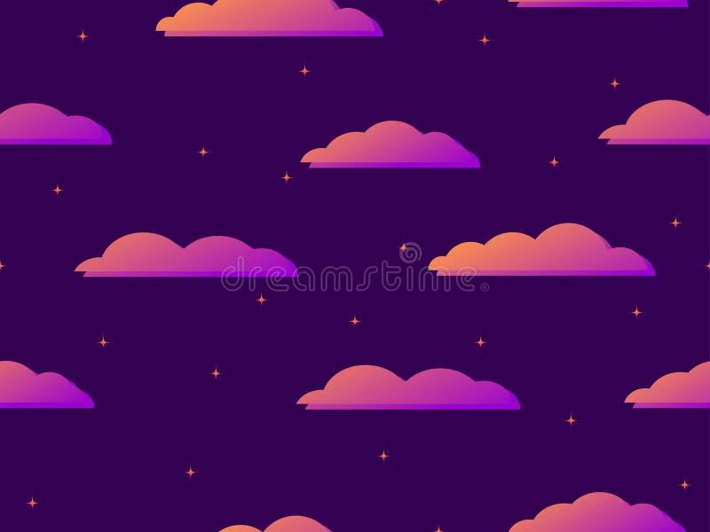 Nächtlicher Himmel mit nahtlosem Muster der Sterne und der Wolken Purpurrote Steigung Vektor vektor abbildung