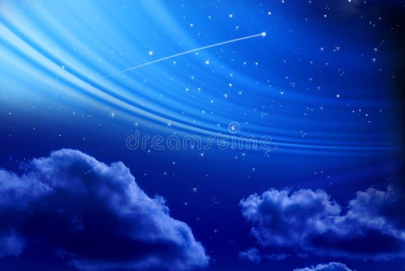 Nächtlicher Himmel mit Schießen-Stern stockbilder