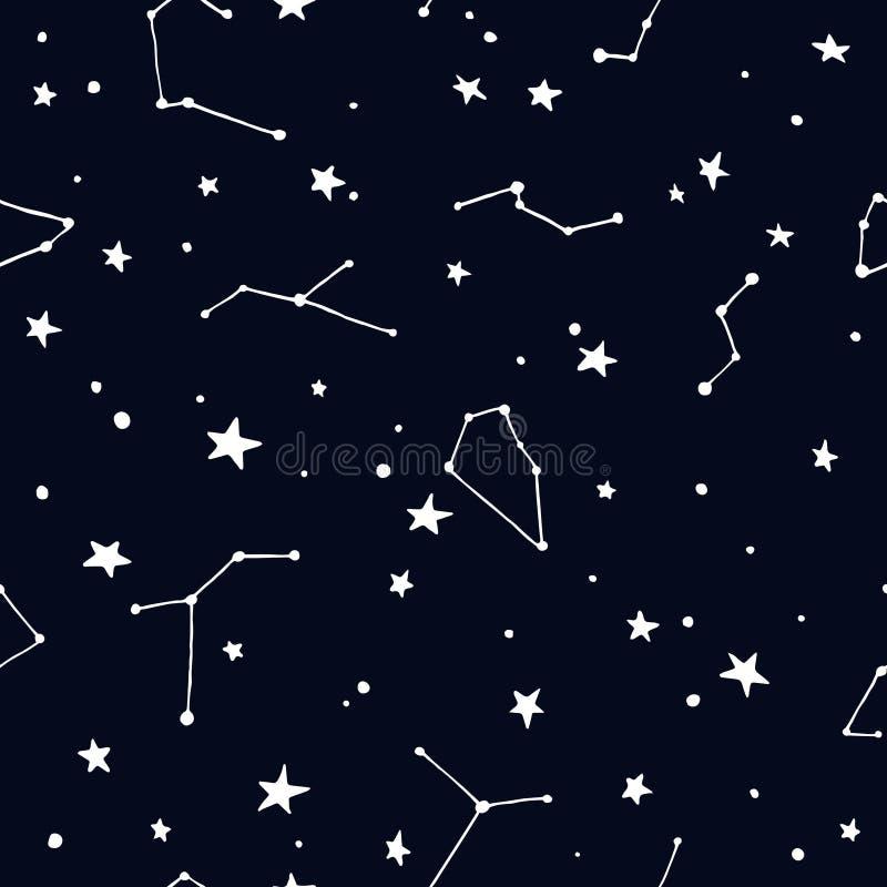 Nächtlicher Himmel mit Sternen und Konstellation lizenzfreie abbildung