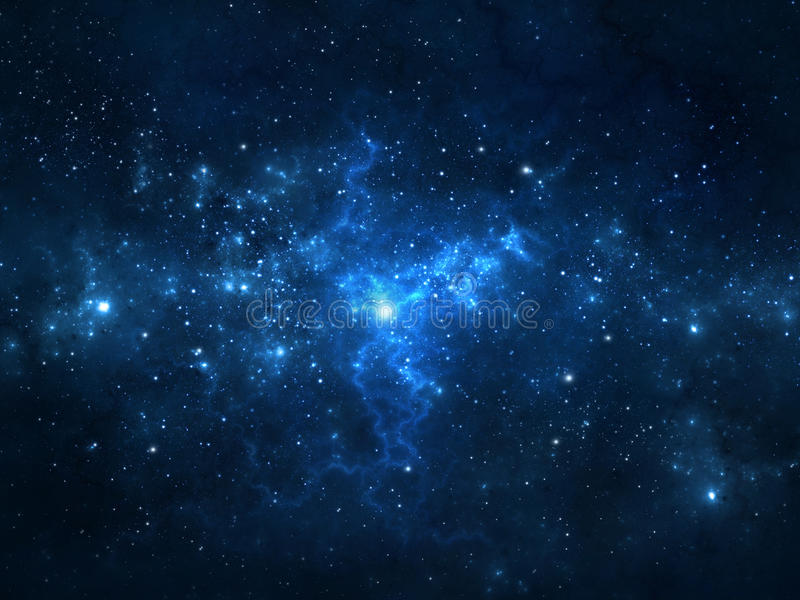 Nächtlicher Himmel mit Sternen und Nebelfleck stock abbildung