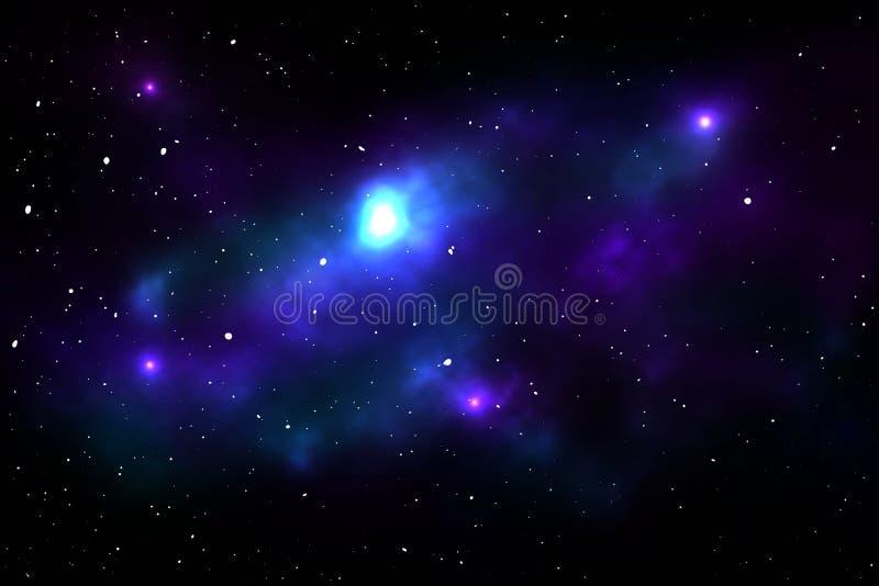 Nächtlicher Himmel mit Sternen und Nebelfleck lizenzfreie abbildung