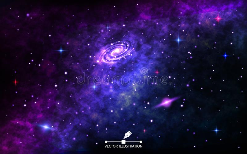 Nächtlicher Himmel mit vielen Sternen Kosmischer Hintergrund mit Nebelfleck Weltraum mit hellem Spiralarm, stardust und glänzende vektor abbildung