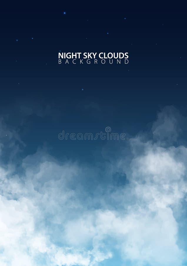 Nächtlicher Himmel mit weißen realistischen Wolken Auch im corel abgehobenen Betrag lizenzfreie abbildung