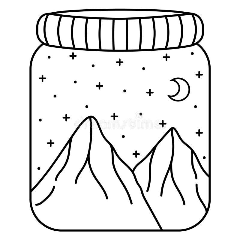 Nächtlicher Himmel und Berge in einem Glasgefäß Schwarzweiss-Gekritzelberge, -mond und -sterne stock abbildung