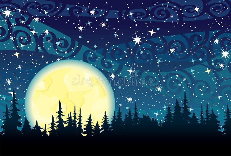 Nächtlicher Himmel und Mond vektor abbildung