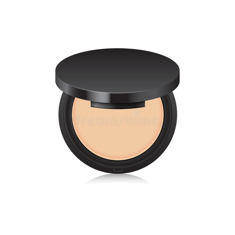 Näck pulverfärg för makeup i svart fall isolerad öppnad white för bakgrund ask Åtlöje upp mall stock illustrationer