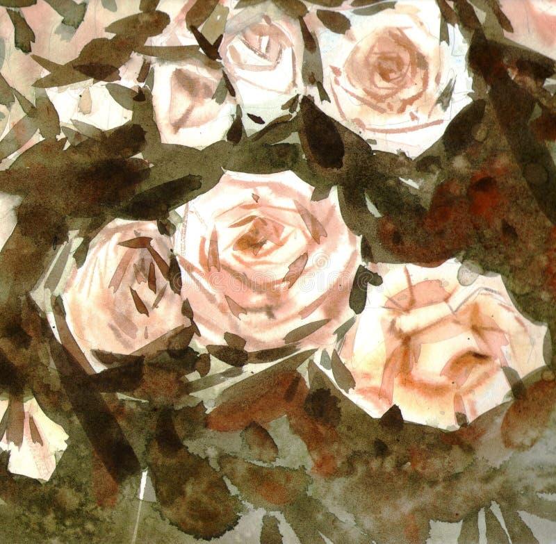 Näck rosbakgrund för vattenfärg vektor illustrationer