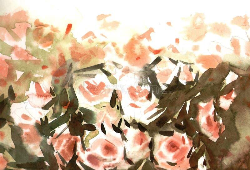Näck rosbakgrund för vattenfärg stock illustrationer