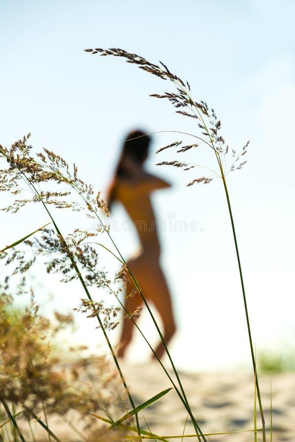 näck silhouettekvinna fotografering för bildbyråer