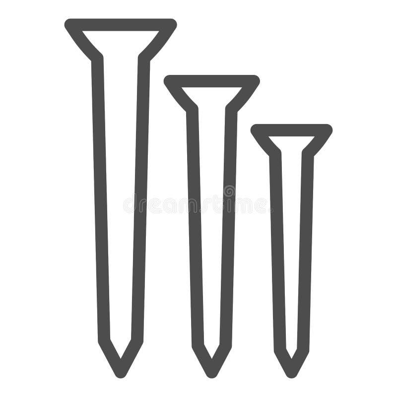 Nägel zeichnen Ikone Bauvektorillustration lokalisiert auf Wei? Zimmereientwurfs-Artentwurf, bestimmt für Netz vektor abbildung