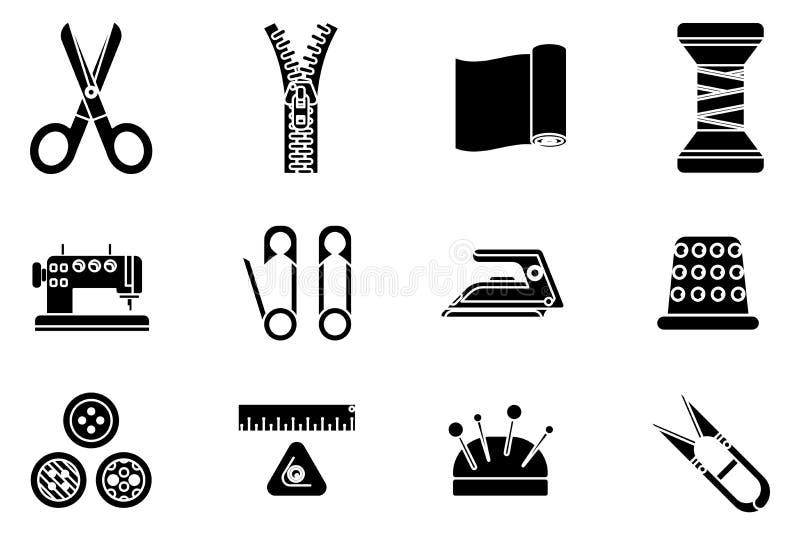 Nähen der nähende Werkzeugstoff des Schattenbildes, der Handwerk herstellt, Ikonen-Satzvektor des Modehobbys flacher Entwurf loka vektor abbildung