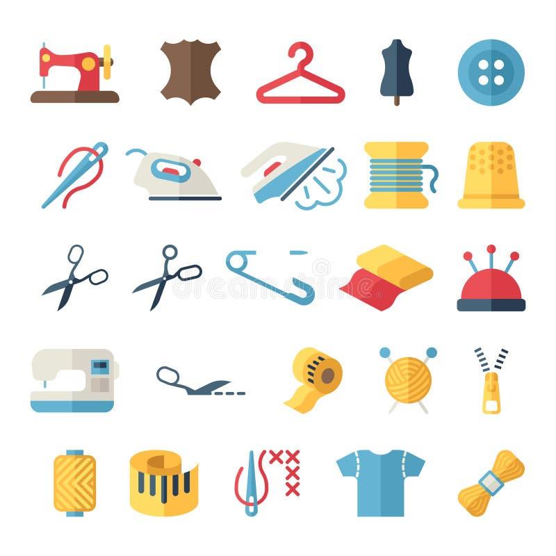 Nähende flache Ikonen der Ausrüstung und der Näharbeit des Vektors lizenzfreie abbildung