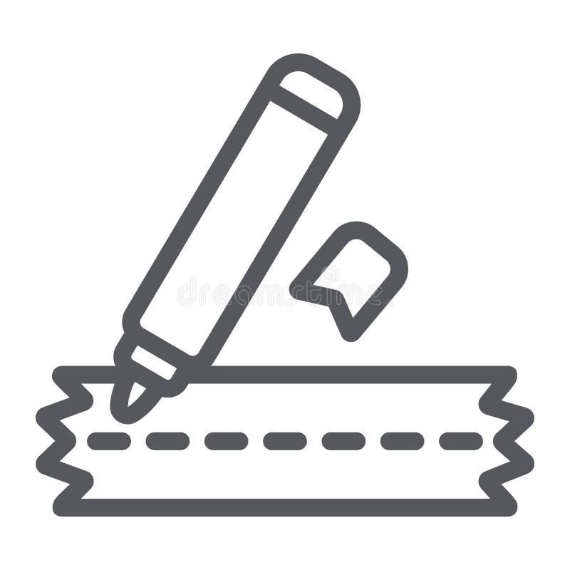 Nähende Markierungslinie Ikone, Handwerk und nähen, Kleidungsmarkierungszeichen, Vektorgrafik, ein lineares Muster auf einem weiß vektor abbildung