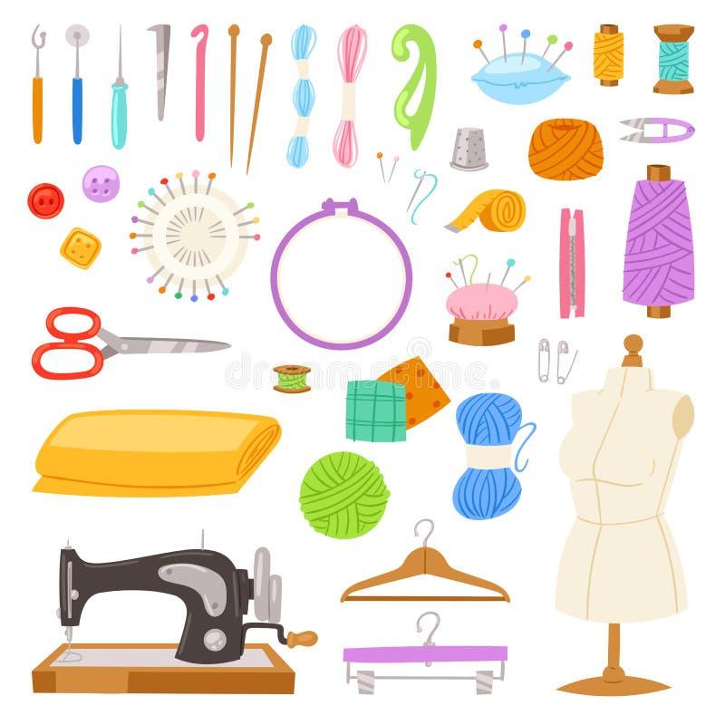 Nähende Vektorschneiderwerkzeuge nähen Nadelfadenscherengewebe-Spulenentwurf für das Herstellen des Hobbyillustrations-Modesatzes stock abbildung