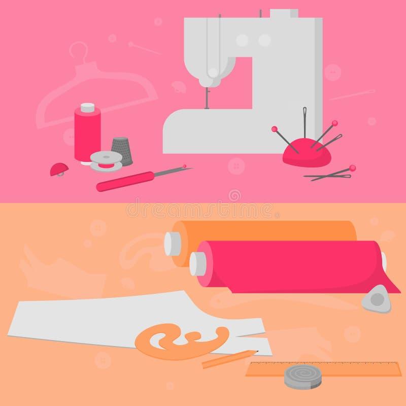 Nähende Werkstattausrüstung Flache Schneidershopgestaltungselemente Das Herstellen von Industrie Dressmaking bearbeitet Ikonen Mo stock abbildung