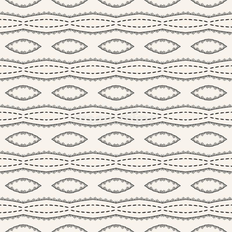 Nähendes Streifenmuster der dekorativen Stickerei Nahtloser Vektorhintergrund der viktorianischen Näharbeit Dekoratives Gewebe de lizenzfreie abbildung