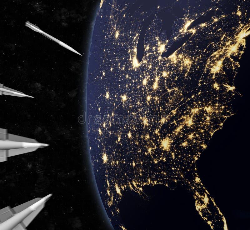 Nähernde Atomraketen, welche die US in Angriff nehmen lizenzfreie abbildung
