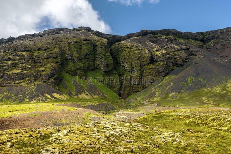 Nähernde Raudfeldsgja-Schlucht im südlichen Teil von in Snaefellsnes-Halbinsel island lizenzfreie stockfotos