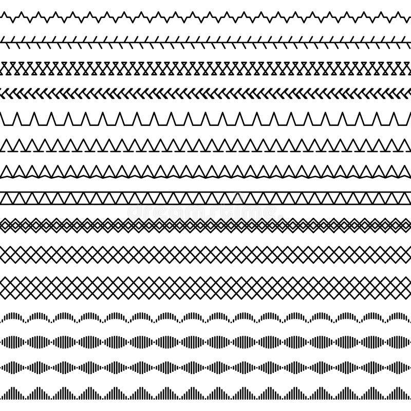 Nähmaschine Näht Nahtloses Muster, Teil 2 Vektor Abbildung ...