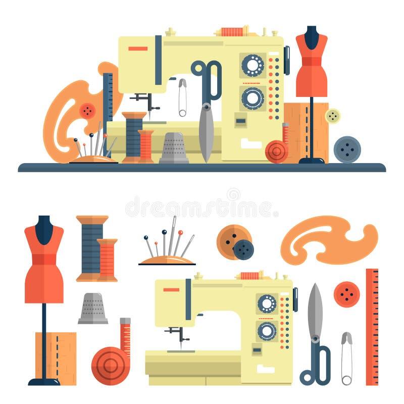 Nähmaschine, Zubehör für Dressmaking und handgemachte Mode Vektorsatz flache Ikonen, lokalisierte Gestaltungselemente stock abbildung